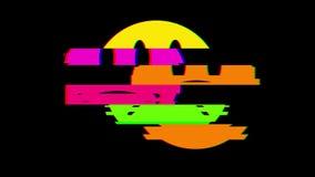 Nuovo retro retro video d'annata variopinto allegro dinamico di sorriso del fronte di simbolo del ciclo di impulso errato di anim stock footage