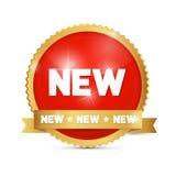 Nuovo rosso ed oro dell'etichetta Fotografia Stock
