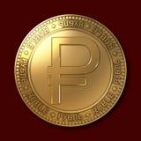 Nuovo simbolo della rublo dell'oro sulla moneta Immagini Stock Libere da Diritti