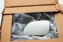 Nuovo specchio di automobile in scatola Fotografie Stock Libere da Diritti