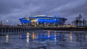 Nuovo stadio in San Pietroburgo alla notte Fotografia Stock Libera da Diritti