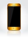 Nuovo telefono cellulare realistico dell'oro con lo schermo nero Immagine Stock Libera da Diritti
