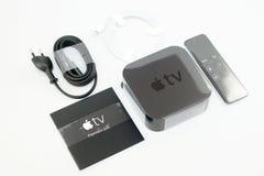 Nuovo unboxing di Apple TV Fotografia Stock