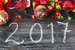 Nuovo Year& x27; cartolina d'auguri di s 2017 Immagine Stock Libera da Diritti