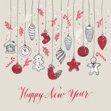 Nuovo Year& x27; la s gioca lo stile disegnato a mano Fotografie Stock Libere da Diritti