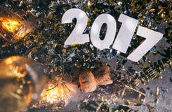 2017 nuovo Year& x27; s Eve Grunge Background Fotografia Stock