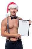 Nuovo Year& x27; menu di s nelle mani del cameriere Fotografie Stock Libere da Diritti