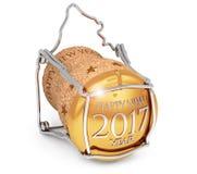 Nuovo year& x27; sughero 2017 del champagne di s Fotografie Stock Libere da Diritti