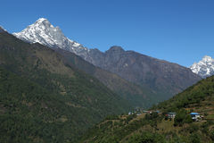 Nupla peak and nurring village from nepal Stock Photography