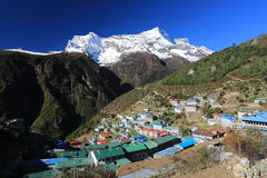 Nupla and tartikha peak and namchebazar from nepal Stock Image