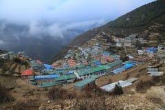 Nupla and tartikha peak and namchebazar from nepal Stock Images
