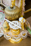 Nuptial good luck thread worn around the bride` s. And bridegroom` s heads royalty free stock photos