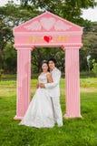 Nuptiale thaïlandais asiatique dans le costume de mariage Photos stock