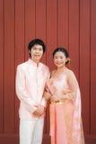 Nuptiale thaïlandais dans le costume thaïlandais de mariage Images stock