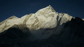 Nuptse Mountain sunset, Himalaya stock video footage