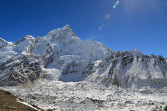 Nuptse summit beside of everest from kallapather summit Stock Photos