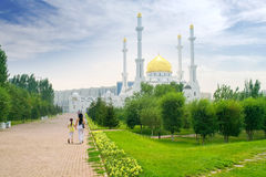 Nur-Astana Mosque. Modern large beautiful building of mosque is in city Astana royalty free stock photography