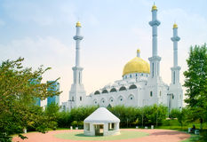 Nur-Astana Mosque. Modern large beautiful building of mosque is in city Astana stock photography