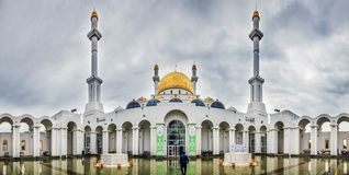 Panorama of the courtyard of the mosque Nur-Astana. Kazakhstan. The Nur-Astana mosque is an undeniable value for the country and one of its most important Stock Photos
