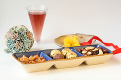 Nur and Drinks. The red  wine beverage and All kinds of nuts Stock Images