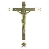 Nur goldenes katholisches Kreuz mit der Kreuzigung. Stockbild