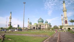 An-Nur Great Mosque in Pekanbaru, Indonesia, tilt down. An-Nur Great Mosque in Pekanbaru, Indonesia. Shot with Sony a7s and Atomos Ninja Flame on sunny day with stock footage
