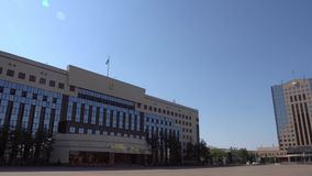 Nur-Sultan City Hall. Nur-Sultan Akimat of Astana City Hall and Academy of Public Administration under the President of the Republic of Kazakhstan building on a stock video