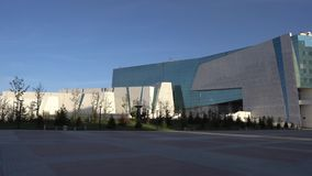 Nur-Sultan National Museum. Nur-Sultan Astana National Museum of the Republic of Kazakhstan Building on a sunny cloudy blue sky day stock footage