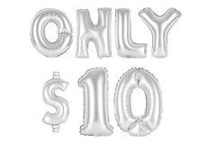 Nur zehn Dollar, chromieren graue Farbe Lizenzfreie Stockbilder