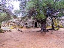 Nuraghe Albucciu,阿尔扎凯纳,撒丁岛 免版税库存照片
