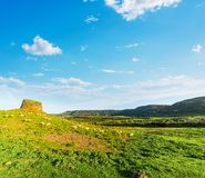Nuraghe and herd of sheep on a green hill in Sardinia. Italy stock photo