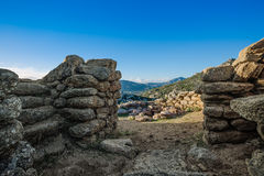 Nuraghe Riu mulinu. Inside the nuraghe Riu Mulinu royalty free stock photos