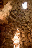 Nuraghe in sardinia - italy. Light through a circular window, nuraghe - archeological building in sardinia (sardegna), Italy royalty free stock photo