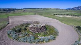 Nuraghe in Sardinia seen with drone royalty free stock photo