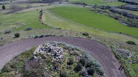 Nuraghe in Sardinia seen with drone. Italy royalty free stock photo