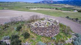 Nuraghe in Sardinia seen with drone. Italy stock images