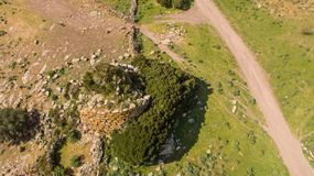 Nuraghe in Sardinia seen with drone. Italy royalty free stock image