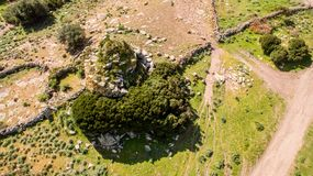 Nuraghe in Sardinia seen with drone. Italy royalty free stock photography
