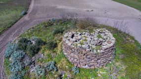 Nuraghe in Sardinia seen with drone stock image
