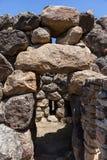 Nuragic ruins of the archaeological site of Barumini in Sardinia. With giant stones stock image