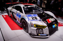 2015 Nurburgring winner Audi R8 at Geneva 2016 Stock Photos