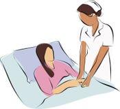 Nure neemt zorg een patiënt Stock Afbeeldingen