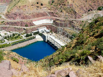 The Nurek hydroelectric power plant. Hydroelectric power plant on the Vakhsh river in the City of Nurek Tajikistan Stock Photos