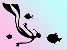 Nurek i ryba Zdjęcie Stock