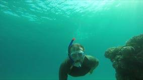 Nurek nurkuje pod wodą i robi OK znakowi zbiory wideo