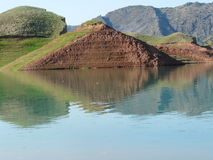 Nurek reservoir. The reservoir of the Nurek hydroelectric power Tajikistan Stock Photos