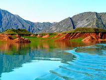 Nurek reservoir, Tadjikistan. The Nurek hydropower plant on the Vakhsh, Tajikistan Stock Photography