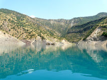 Nurek reservoir in Tajikistan. The reservoir of the Nurek hydroelectric power station in Tajikistan Stock Photos