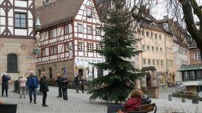 Nuremberg, Allemagne - 5 décembre 2018 : Vue des rues de la vieille ville de Nuremberg en hiver Chambre du célèbre clips vidéos