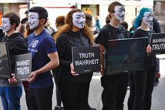 Cube of Truth protest group stock image